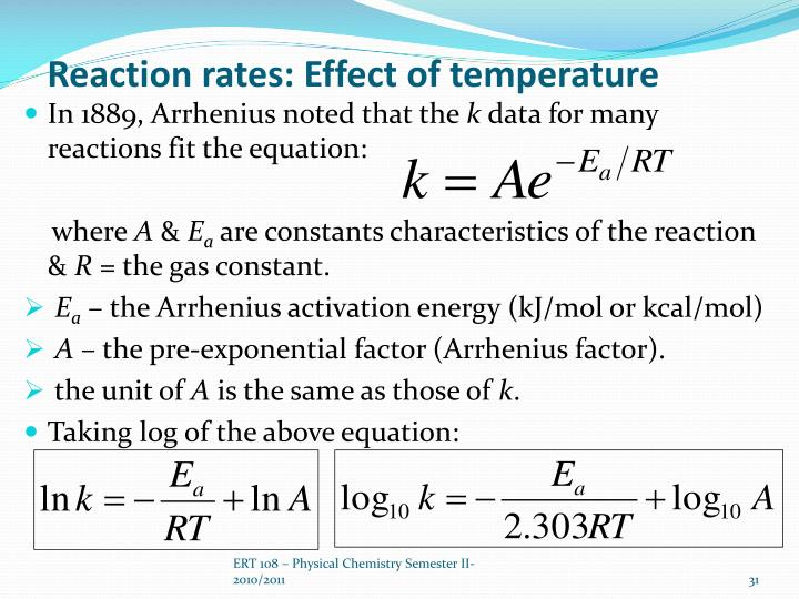 Reaction rates: Effect of temperature