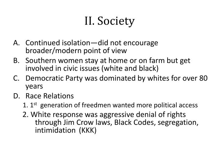 II. Society