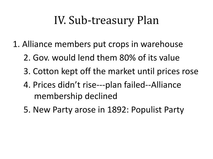 IV. Sub-treasury Plan