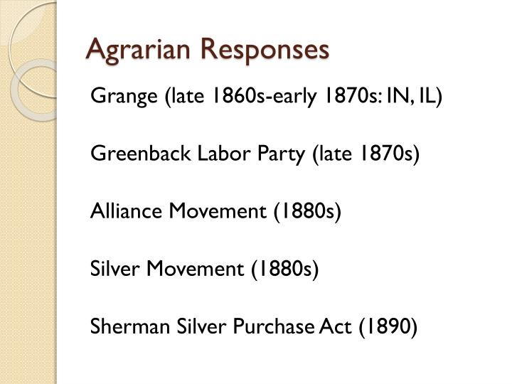 Agrarian responses