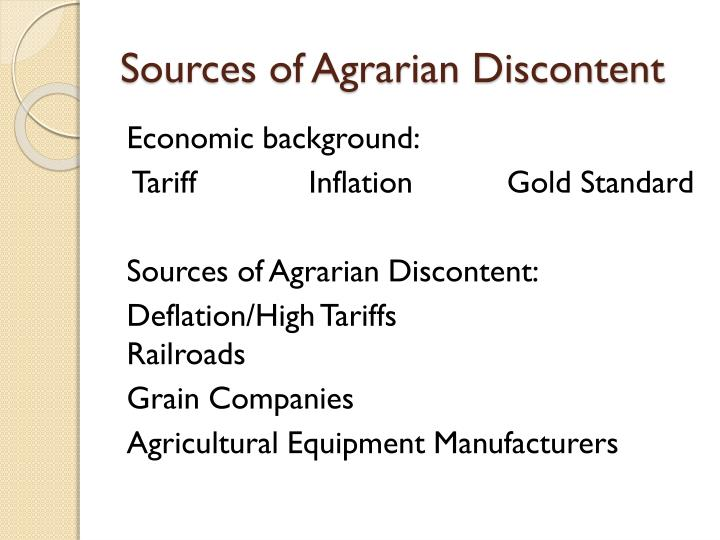 Sources of Agrarian Discontent
