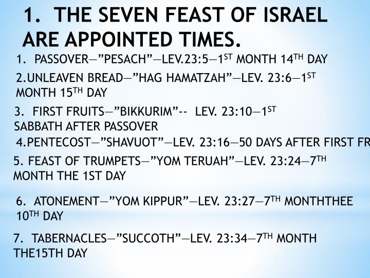 1.  THE SEVEN FEAST OF ISRAEL ARE APPOINTED TIMES.