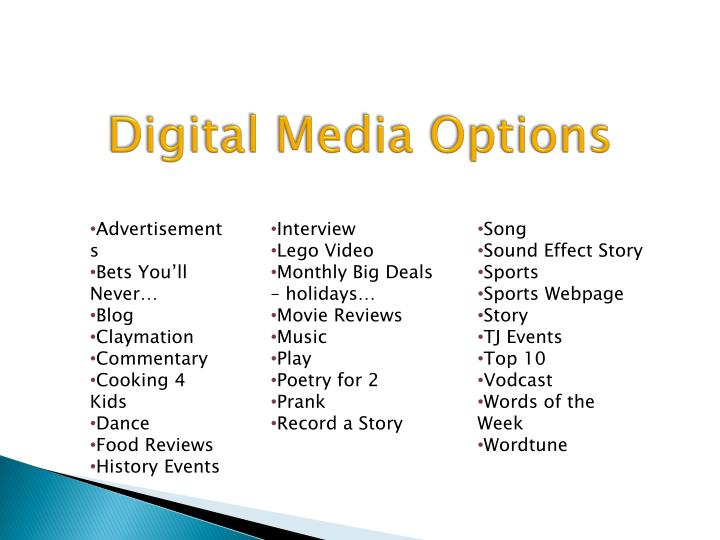 Digital Media Options
