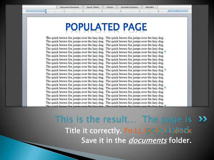 Populated page