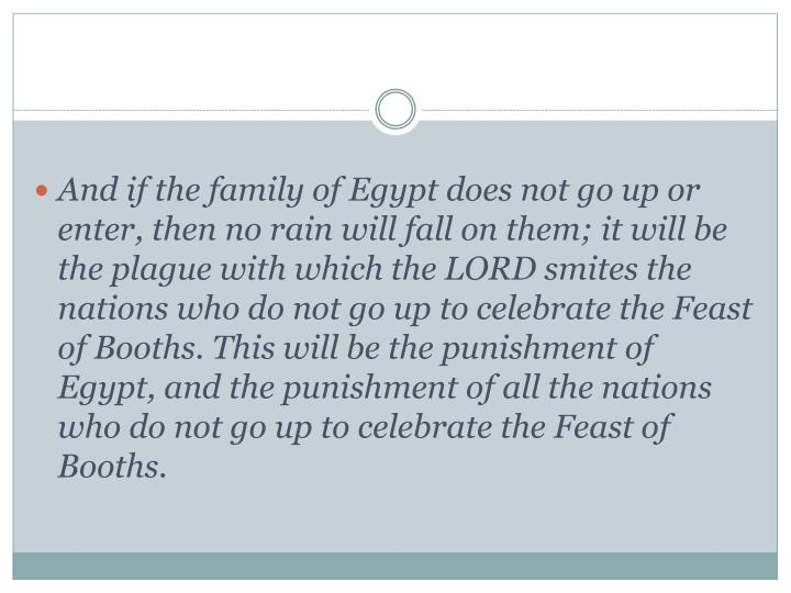 And if the family of Egypt does not go up or enter, then no rain will fall on them; it will be the plague with which the LORD smites the nations who do not go up to celebrate the Feast of Booths. This will be the punishment of Egypt, and the punishment of all the nations who do not go up to celebrate the Feast of Booths.