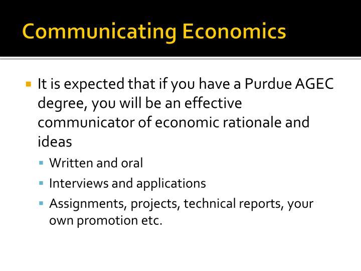 Communicating Economics
