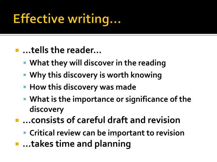 Effective writing…