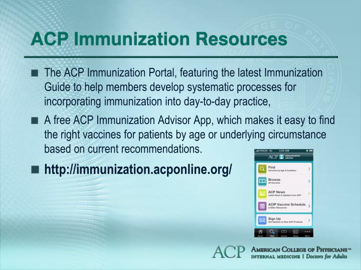 ACP Immunization Resources