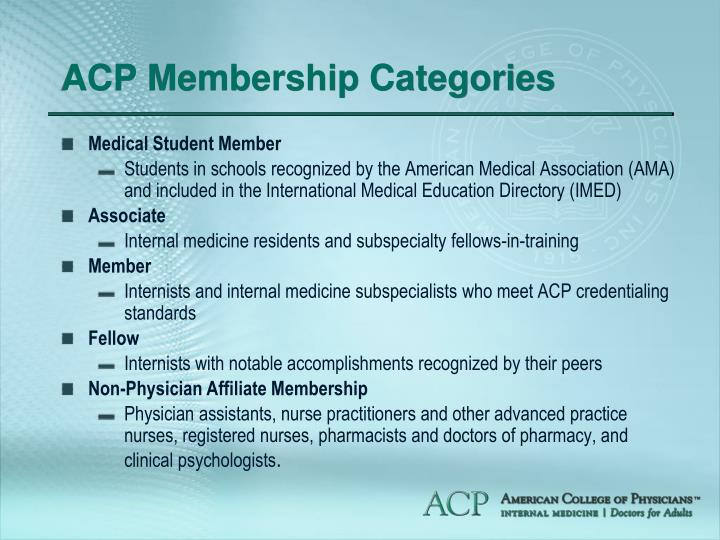 ACP Membership Categories