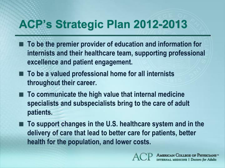 Acp s strategic plan 2012 2013