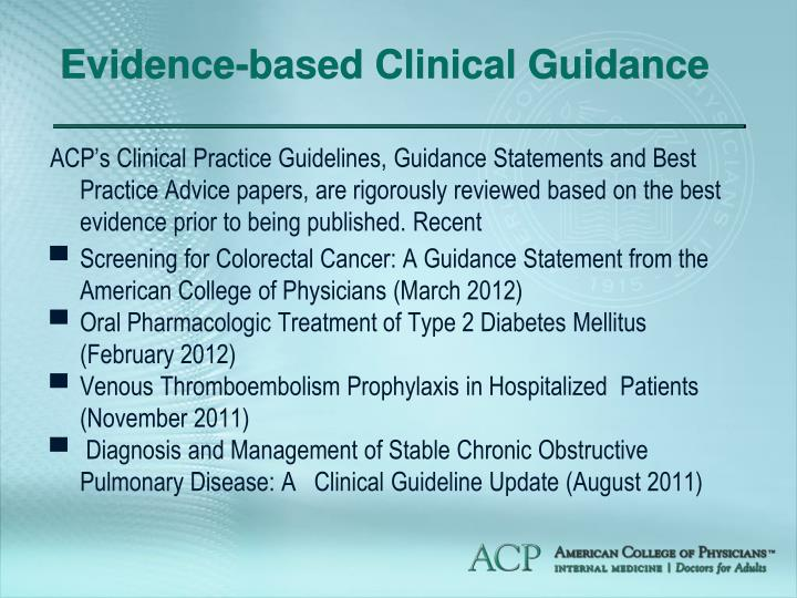 Evidence-based Clinical Guidance