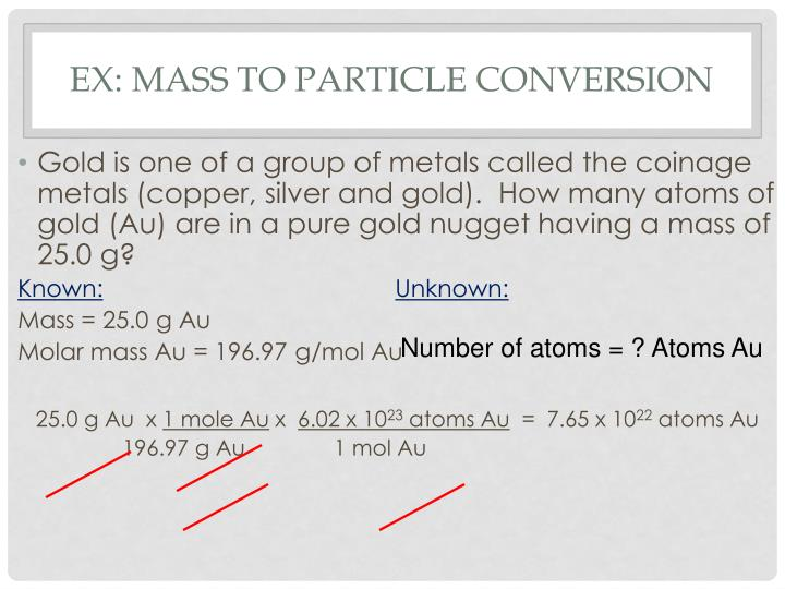 Ex: Mass to Particle Conversion