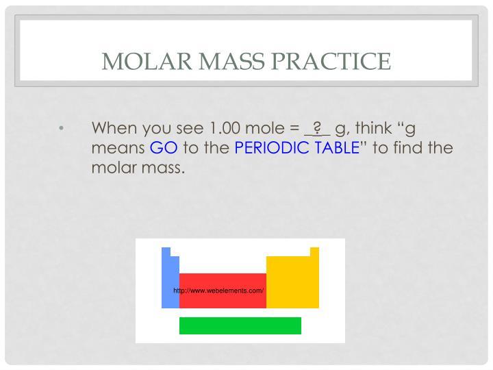 Molar Mass Practice