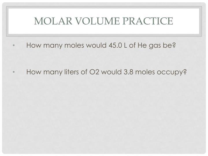 Molar Volume Practice
