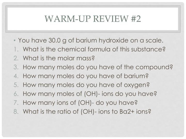 Warm-up Review #2
