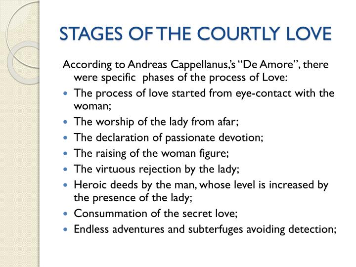 STAGES OF THE COURTLY LOVE