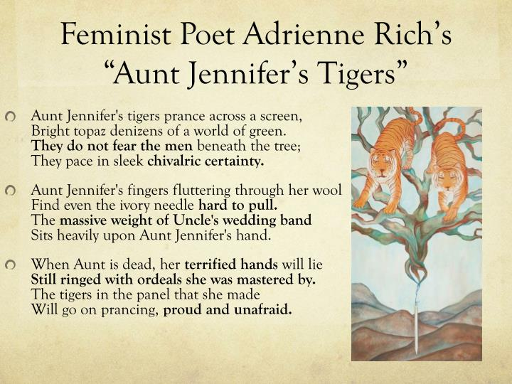 the struggles with an oppressive and constrained lifestyle in aunt jennifers tigers a poem by adrien