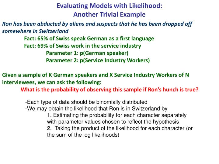 Evaluating Models with Likelihood: