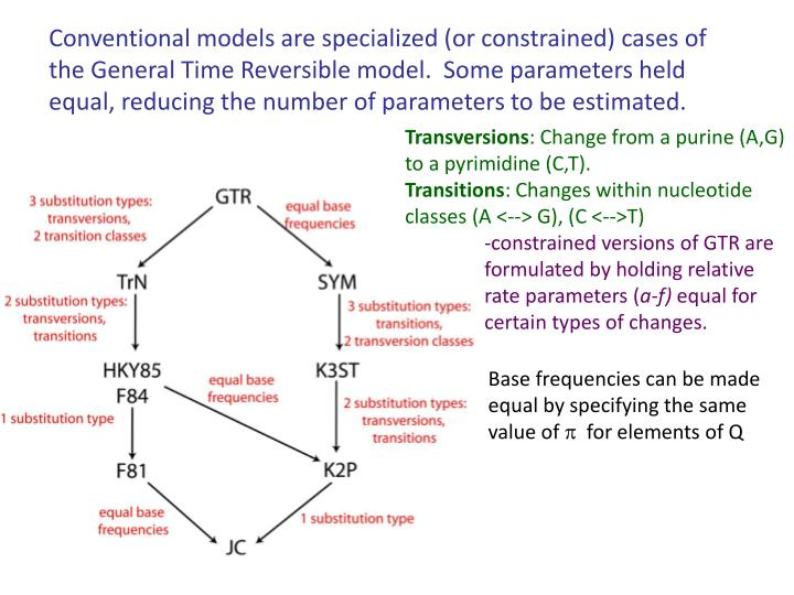 Conventional models are specialized (or constrained) cases of the General Time Reversible model.  Some parameters held equal, reducing the number of parameters to be estimated.
