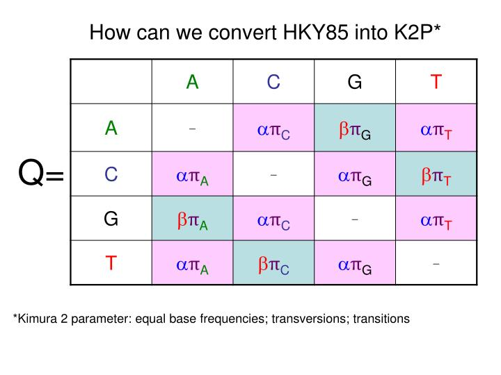 How can we convert HKY85 into K2P*