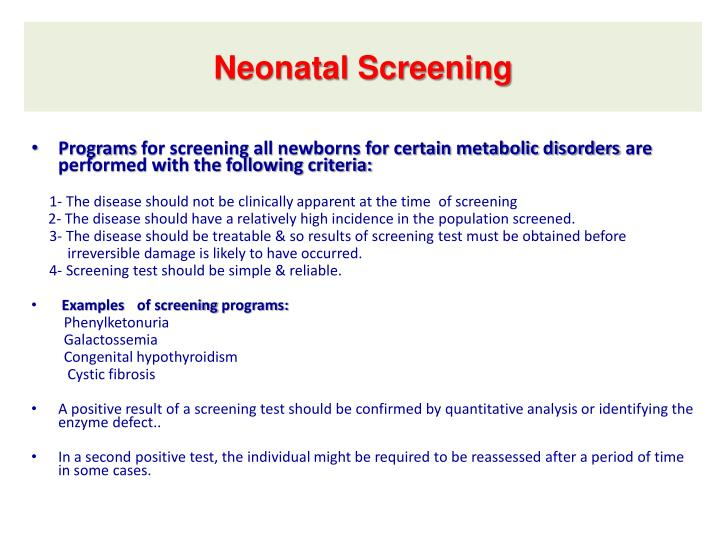 Neonatal Screening