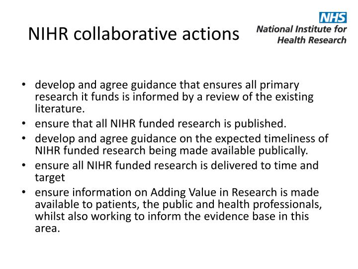 NIHR collaborative actions