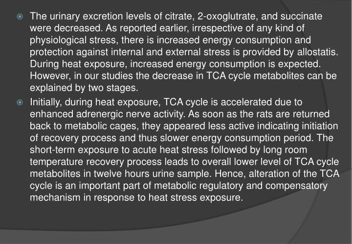 The urinary excretion levels of citrate, 2-oxoglutrate, and