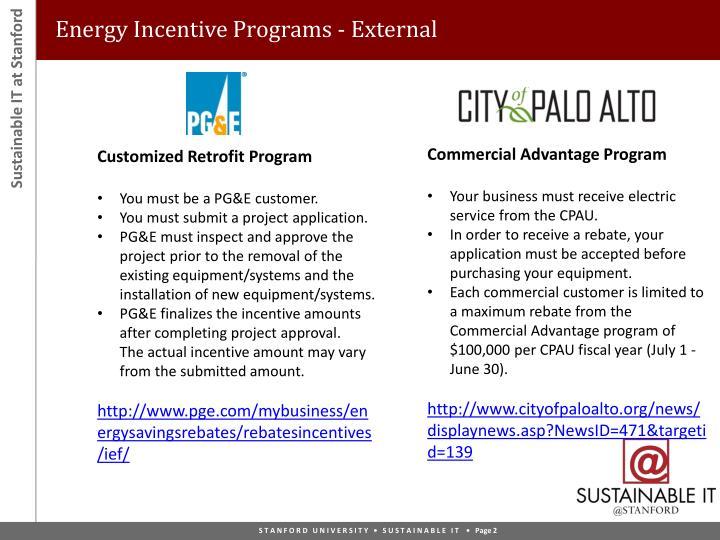 Energy Incentive Programs - External