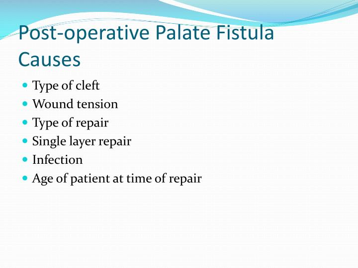 Post-operative Palate Fistula Causes
