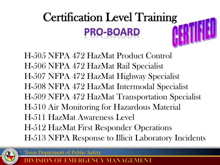 Certification Level Training
