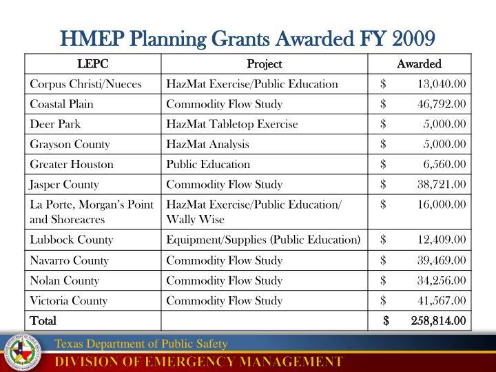 HMEP Planning Grants Awarded FY 2009