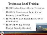 technician level training