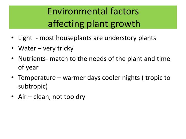 Environmental factors affecting plant growth