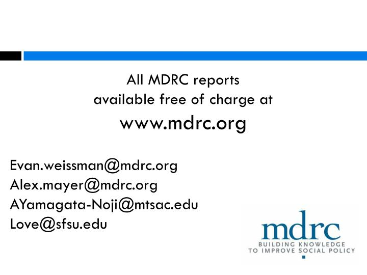 All MDRC reports