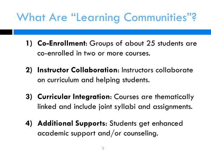 What are learning communities