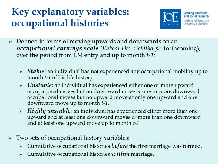 Key explanatory variables: