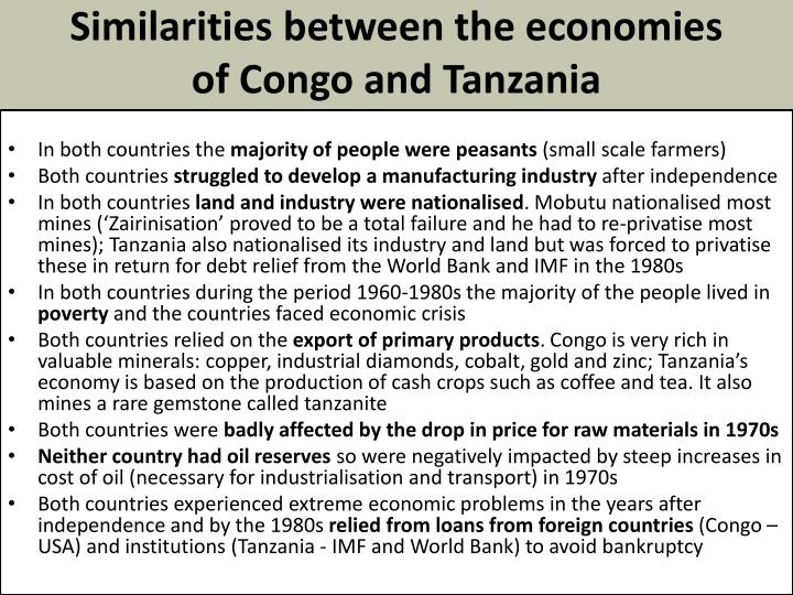 Similarities between the economies of Congo and Tanzania