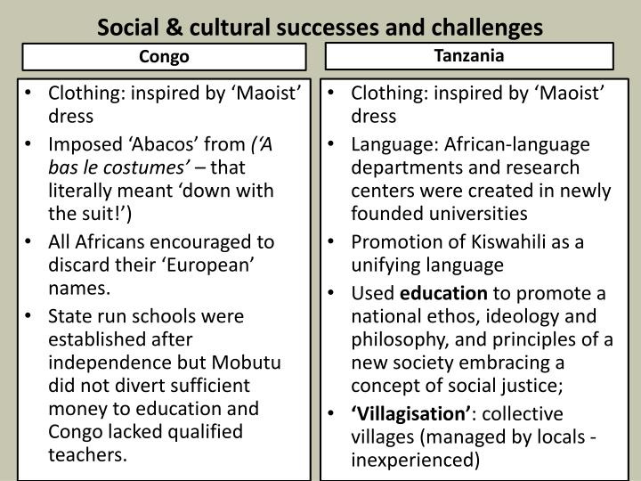 Social & cultural successes and challenges