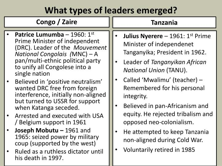 What types of leaders emerged?