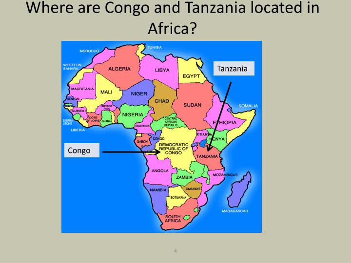Where are Congo and Tanzania located in Africa?