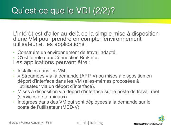 Qu'est-ce que le VDI (2/2)?