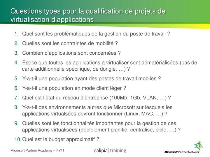 Questions types pour la qualification de projets de
