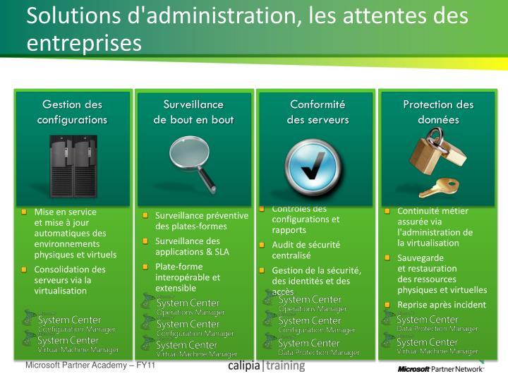 Solutions d'administration, les attentes des entreprises