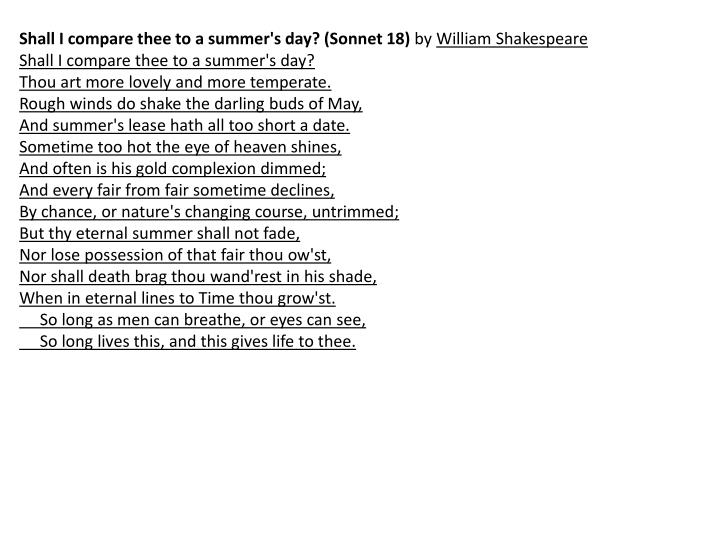 Shall I compare thee to a summer's day? (Sonnet 18)