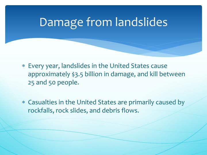 Damage from landslides