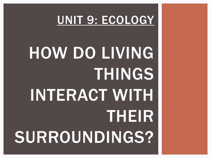 Unit 9 ecology how do living things interact with their surroundings