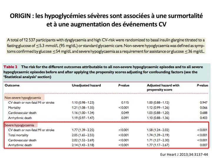 ORIGIN : les hypoglycémies sévères sont associées à une surmortalité