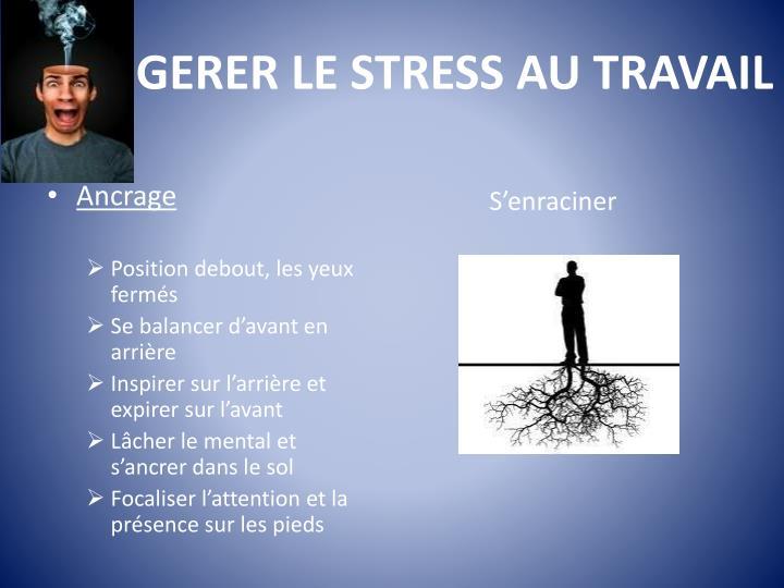 GERER LE STRESS AU TRAVAIL