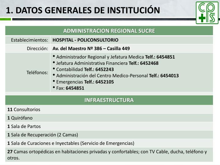 1. Datos generales de institución