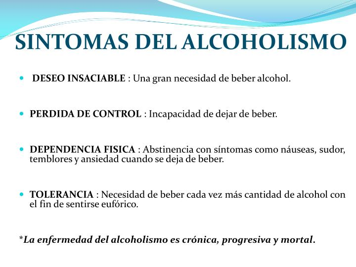 SINTOMAS DEL ALCOHOLISMO